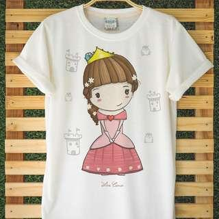 Girls Cute Princess T-Shirt Hand Drawn Very Comfy Light Organic Cotton Adorable