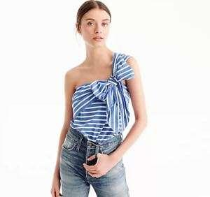 AUTHENTIC J.CREW STRIPED BOW TOP