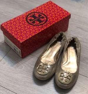 Authentic Tory Burch Platinum Gold Reva Ballet Flats shoes TB