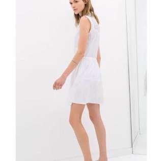 ZARA IVORY EYELET DRAWSTRING DRESS