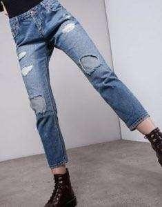 BERSHKA HIGH WAISTED DISTRESSED PATCH JEANS