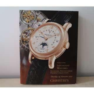 Hong Kong Important Watches Including Distinguished Private Collections Christie's 佳士得名手錶拍賣書 November 2007