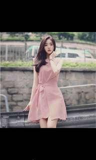 Pink semi wrap dress M