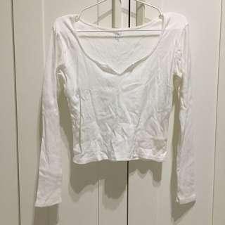 Brandy Melville Basic White Long Sleeve Top