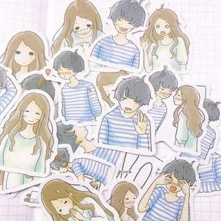 Shy Couple Cute Stickers