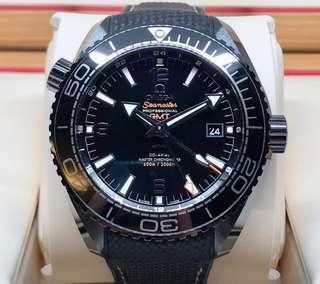 LNIB Omega Seamaster Planet Ocean 600M Co-Axial Master Chronometer GMT DEEP BLACK - 215.92.46.22.01.001