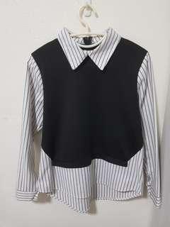 Striped Collar Vest Faux Two-piece Shirt