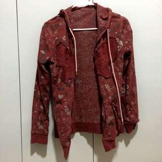 REVERSIBLE PATTERNED MAROON JACKET