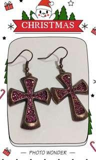 Earrings十字架閃石耳環包平郵