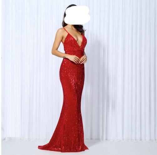 Red Sequin Formal Dress