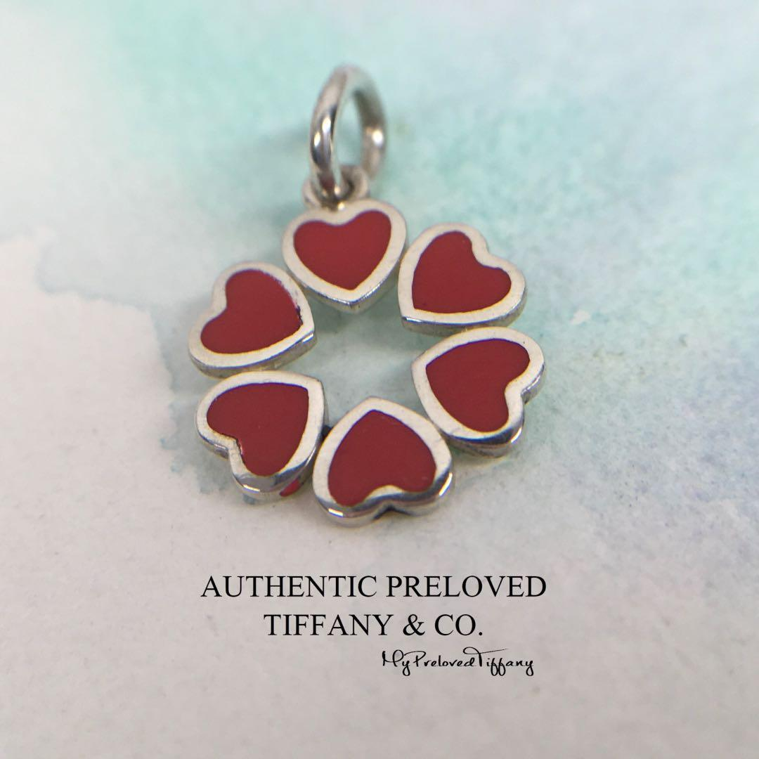 eb2a83d36cd0a Authentic Tiffany & Co. Red Enamel Crown Of Hearts Pendant Charm ...