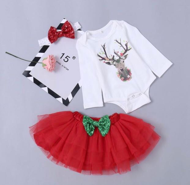 d24bcf0ba82 Baby Girl Newborn Dress Tutu Romper Headband Skirt Set Christmas ...