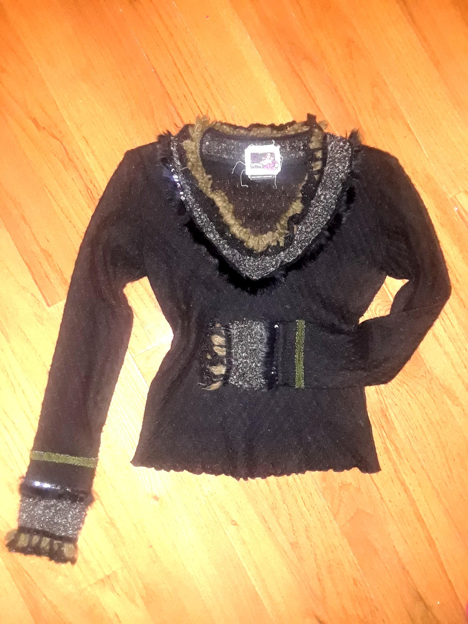 Black bohemian beaded fur winter crochet knit sweater long sleeve small vintage