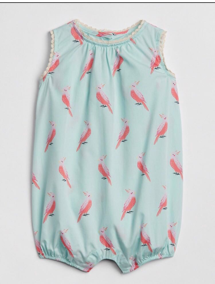 503ee5838 BN GAP Baby Girl Allover Bird Print Teal Ruffled Romper 12-18mths ...