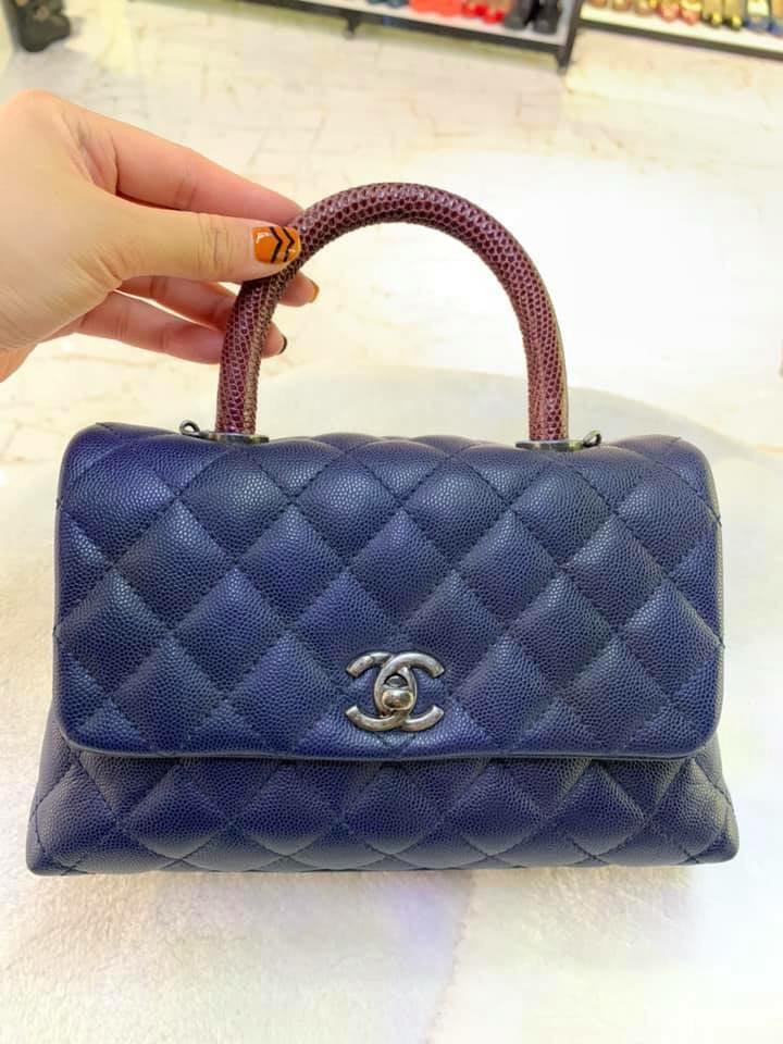 6c537869fecb Chanel coco handle mini Blue with Lizard handle., Luxury, Bags ...