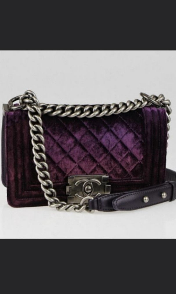 008f3199f9b0f6 Chanel Purple Quilted Velvet Small Boy, Luxury, Bags & Wallets ...