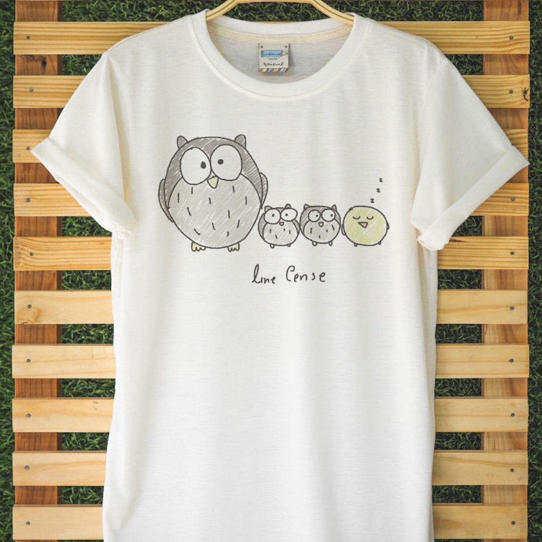 Cute Owls Animal T-Shirt Hand Drawn Very Comfortable Light Organic Cotton Comfy!