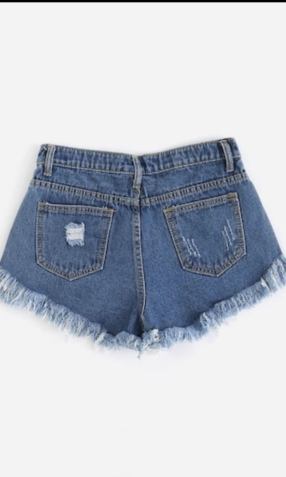 Distressed Fray Hem Denim Shorts