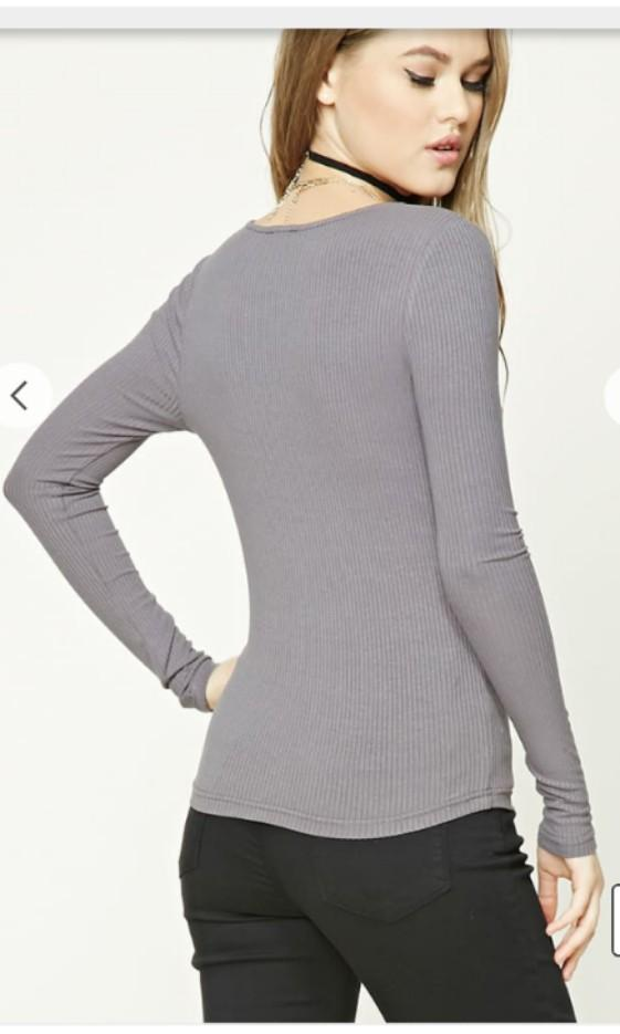 Forever 21 top grey gray corset lace up long sleeve