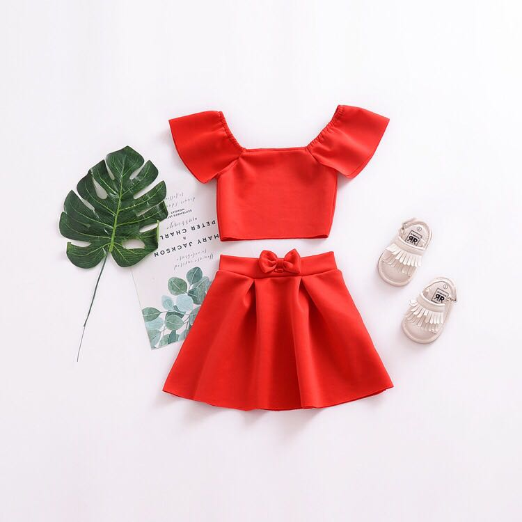 5e40b56c6 🌟INSTOCK🌟 2pc Christmas Red Ruffle Off Shoulder Silk Cotton Blouse ...