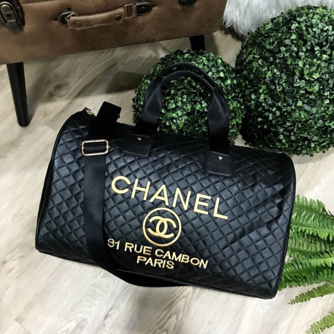 708eaf01f828 Instock! Chanel VIP Gift Quilted Duffel Bag Gold Embroidery ASC3284 ...