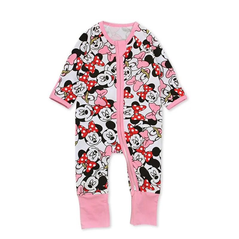 4b2b7c290f7a 🌟INSTOCK🌟 Pink Disney Daisy Minnie Print Zipper Sleeping Romper ...