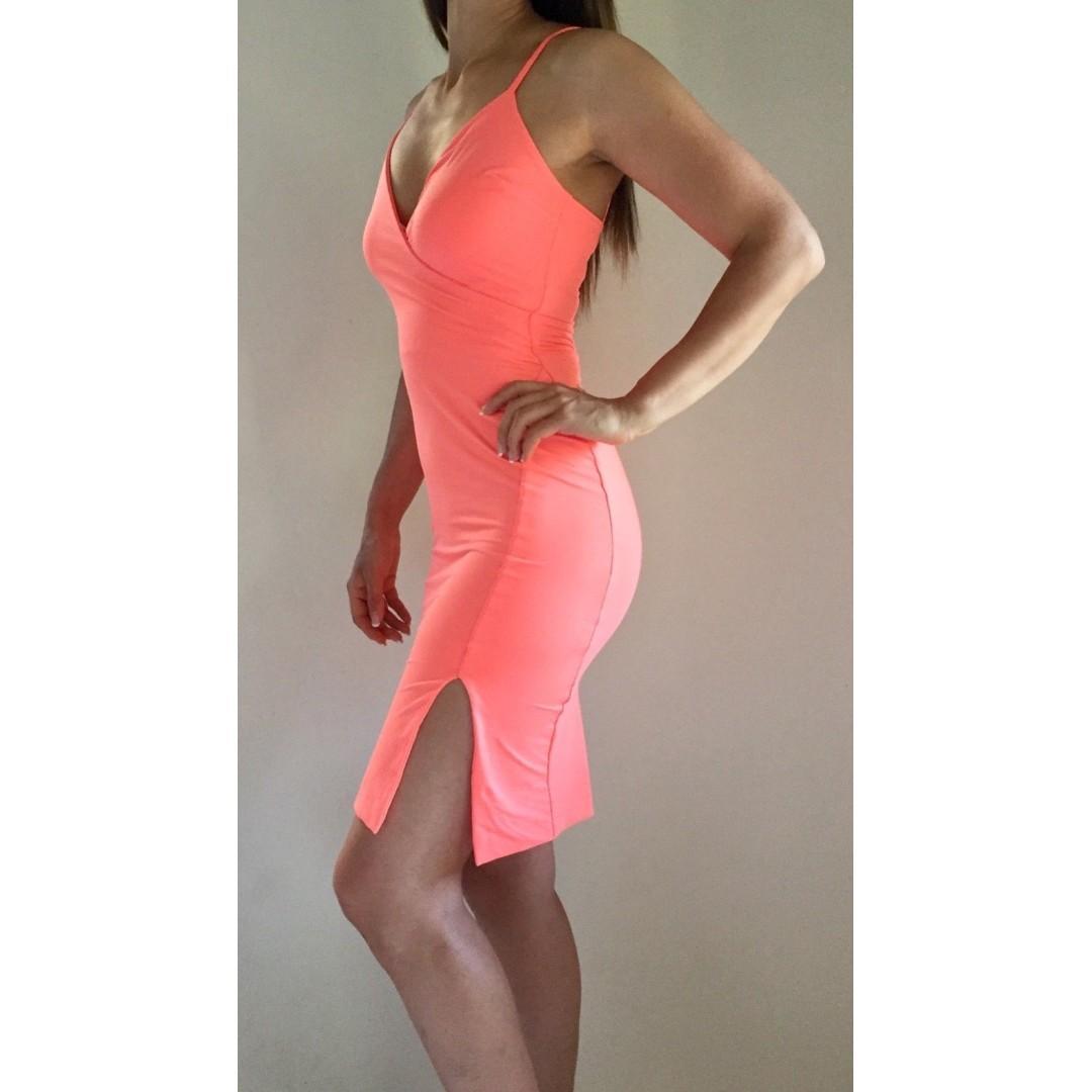 KOOKAI Orange Peach Stretch Bodycon Strappy Dress Sz 1 AU 6-8 Cocktail Summer