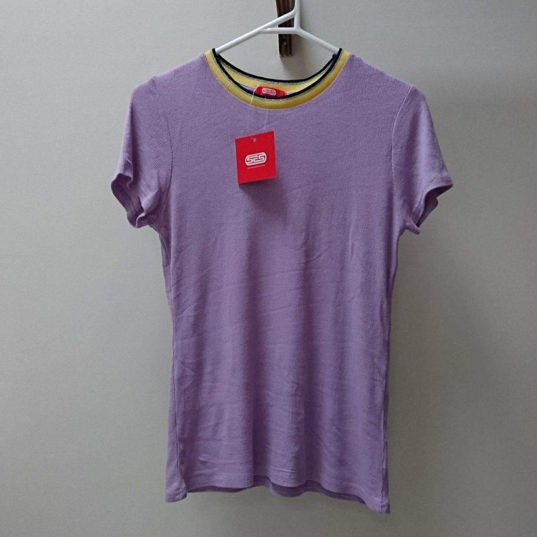 lilac purple ribbed top with yellow trim hem neck size 8 s