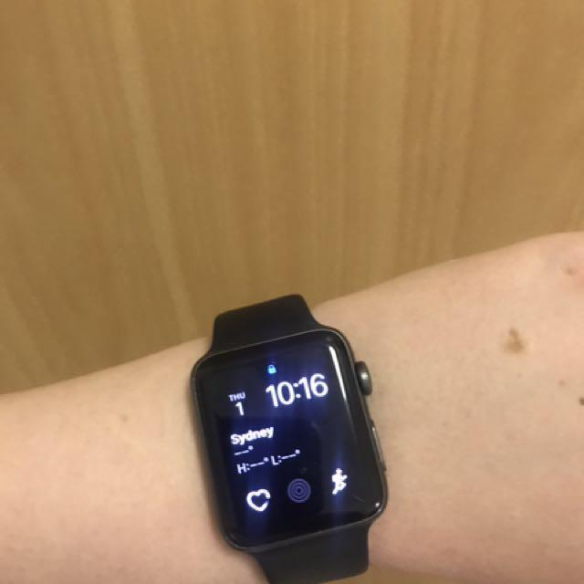 SERIES TWO 42mm APPLE WATCH SPACE GREY WITH ATHLETIC BAND