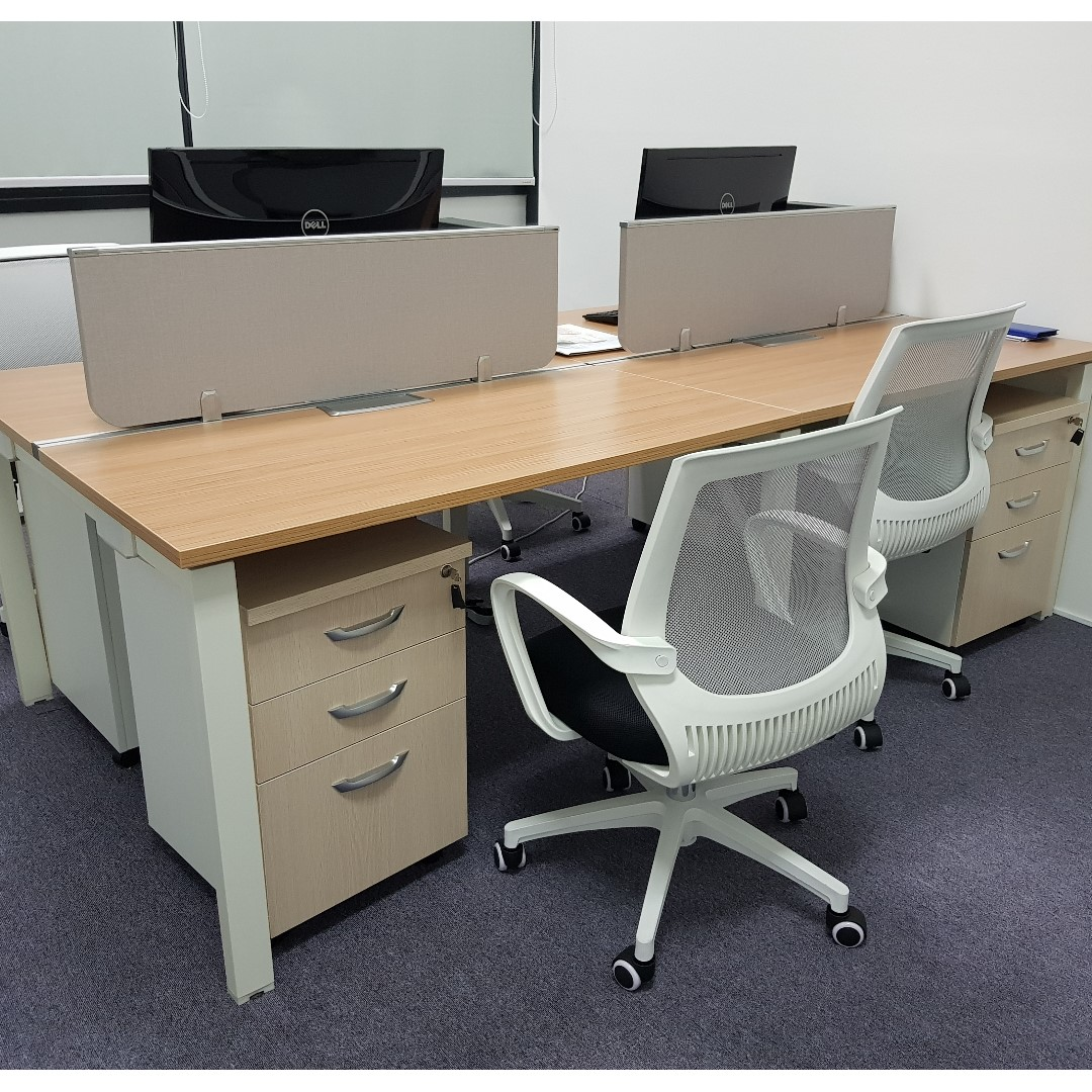 Used Office Furniture For Sale 4 Workstations 4 Matching Pedestals