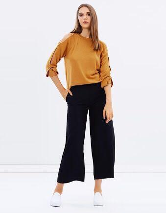 Whistles cutout shoulder knit mustard / rust colour