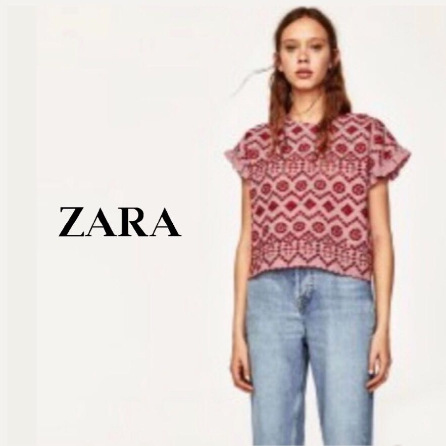 e1ba2c37 ZARA | Red Eyelet Embroidered Top, Women's Fashion, Clothes, Tops on  Carousell