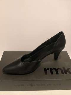 RMK Black Leather Zimmie Heels