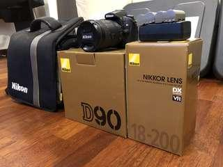 Nikon D90 Complete Set with 18-200 Lens (Like New)