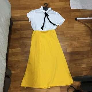 Yellow Daisy Midi Skirt