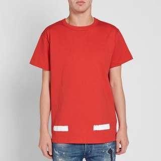 #STEAL# Off White Diagonal Brush Tee (Red)