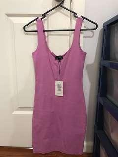 Pink Bardot mini dress