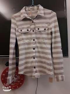 【全新】灰白條紋棉質上衣