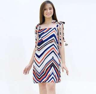 Abstract tie dress with lining
