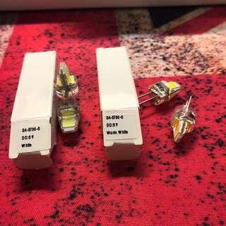 G4 針插 6v DC LED 5730x6 代用射燈膽/石英燈膽 兩黃光兩白光 四個十蚊