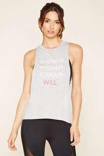 Forever 21 Women's Gray Active Should Would Could Will Tank
