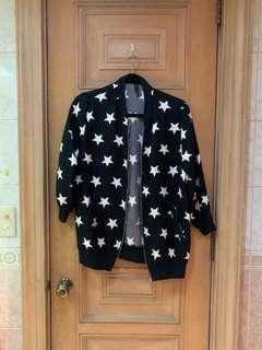 Black Star Bomber Jacket Knit