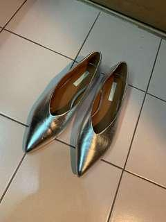 H&M Silver Pointed Toe Flats