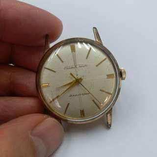 中古60年代精工crown diashock 21 jewels hand winding, 少有面,殼有退金,主要后蓋,34mm不連的,正常,平出,不議價