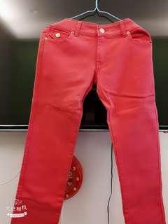 【全新】桃紅金釦緊身褲,L號