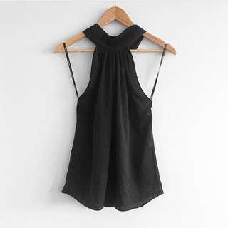 Silky black halter neck top