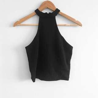 Black zip up halter neck top