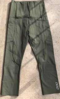 Lorna Jane as new khaki olive green tights leggings really high waisted 7/8 xxs