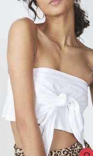White tie up bandeau