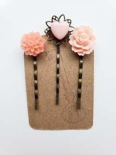 Floral and Heart Hair Pins